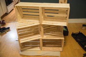 Assemblage caisses de bois deux par deux