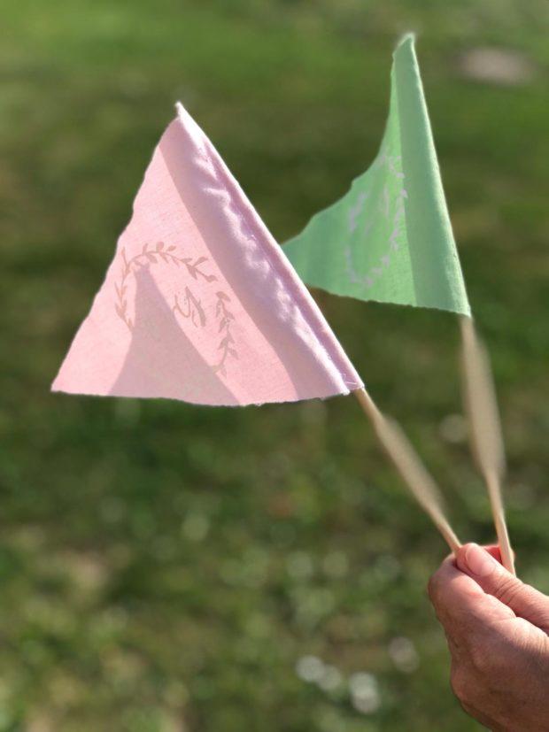 drapeaux en tissus pour la sortie d'église, mariage, diy